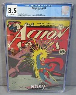 Action Comics #48 (superman Japanese Wwii War Cover) Cgc 3.5 Vg- DC Comics 1942