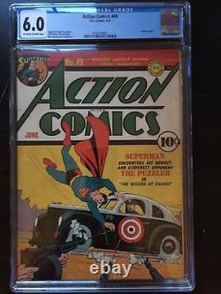 Action Comics # 49 Cgc Fn 6.0 Ow-w Fred Ray Cvr / Art! Rare
