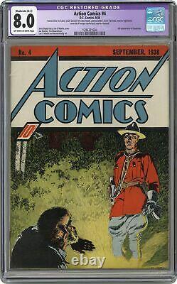 Action Comics #4 Cgc 8.0 Restauré 1938 1296321004