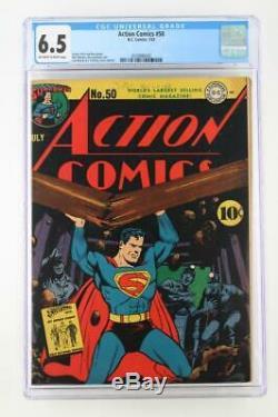 Action Comics # 50 Cgc 6.5 Fn + -dc 1942- Superman