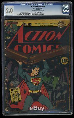 Action Comics # 50 Cgc Gd 2.0 Crème À Blanc Cassé DC Superman