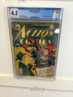 Action Comics # 51 Cgc 4.5 Vg + DC Comics 1942 Blagueur Âge D'or Superman