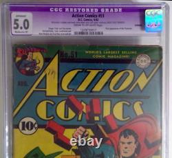 Action Comics #51 Cgc 5.0 Superman 1942 1ère App Prankster