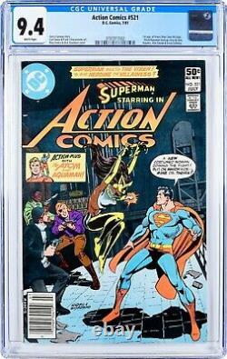Action Comics #521 (1981) Cgc 9.4, Affaire De La Monnaie! Pages Blanches! Très Bien! 1ère Application Vixen