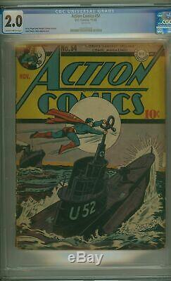 Action Comics # 54 Cgc 2.0 Classique Seconde Guerre Mondiale Couverture
