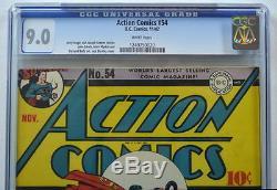 Action Comics # 54 Cgc 9.0 Superman 1942 2e Rang Le Plus Élevé Seulement 1 Mieux