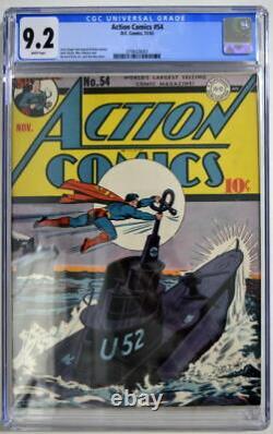 Action Comics #54 Cgc 9.2 Superman 1942 2ème Plus Haut Grade Seulement 2 Mieux