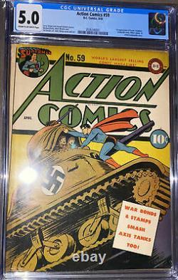 Action Comics 59 Cgc 5.0 Golden Age Ww2 Cover 1st Suzie Tompkins Hitler Cameo DC