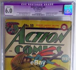 Action Comics # 59 Cgc 6.0 Superman 1943 1ère Application Susie Tompkins & Hitler Camée