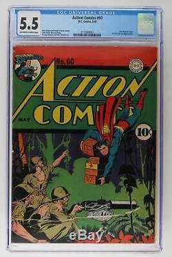 Action Comics # 60 DC 1943 Cgc 5.5 1er Lois Lane Comme Superwoman