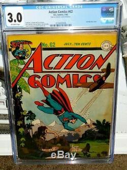 Action Comics # 62 Cgc 3.0 Grand Golden Age La Seconde Guerre Mondiale Superman Couverture