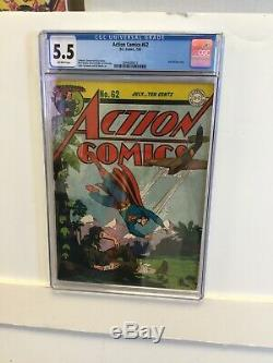 Action Comics # 62 Cgc 5.5 F- 1943 Prise Superman L'âge D'or Couverture Burnley DC