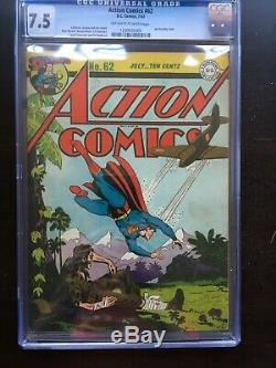 Action Comics # 62 Cgc Vf- 7.5 Ow-w Seconde Guerre Mondiale Cvr! Rare