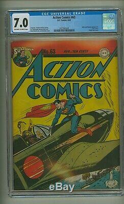 Action Comics 63 (cgc 7.0) Pochette Hitler Dummy Classic Seconde Guerre Mondiale (c # 23292)