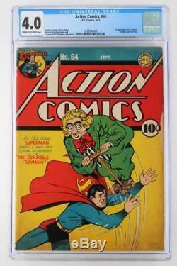 Action Comics # 64 Cgc 4.0 Vg DC 1943 Superman! 1er App Toyman