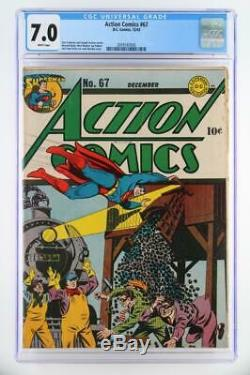 Action Comics # 67 Cgc 7.0 Fn / DC Vf- 1943 Early Superman