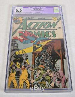 Action Comics 67 DC 1943 Cgc 5.5 Superman Train Robbery Charbon