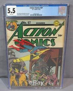 Action Comics # 67 (golden Age Superman) Pages Blanches Cgc 5.5 Fn- DC Comics 1943