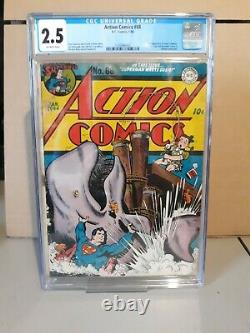 Action Comics #68 Cgc 2.5 2ème Apparition De Susie Tompkins Hitler Cameo