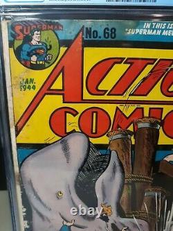 Action Comics #68 Cgc 2.5 2ème Susie Tompkins 1944 DC