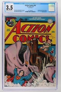 Action Comics #68 DC 1944 Cgc 3.5 2nd App Susie Tompkins! Hitler Cameo