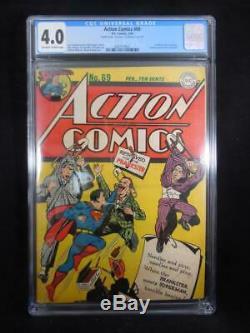 Action Comics # 69 Cgc 4.0 Double Cover Farceur Couverture Wayne Boring
