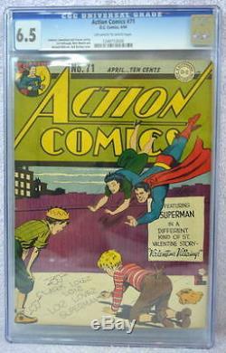 Action Comics # 71 Cgc 6.5 Superman 1944 Rare Histoire De Valentine
