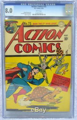 Action Comics # 75 Cgc 8.0 Superman 1944 Rare 3ème Plus Élevé