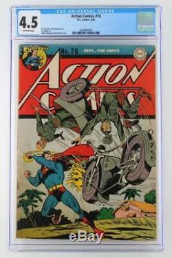 Action Comics # 76 Cgc 4.5 Vg + DC 1944 Superman Couverture Seconde Guerre Mondiale