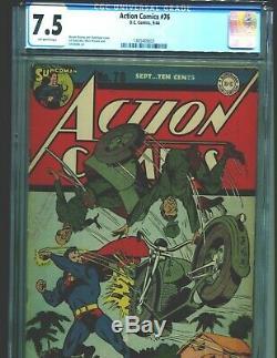 Action Comics 76 Cgc 7.5 Ow Classic Superman Couverture De Moto Japonaise De 1944 À La Seconde Guerre Mondiale