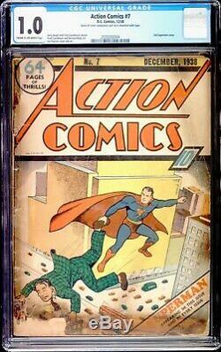 Action Comics 7 Cgc 1.0 DC 1938 Deuxième Couverture De Superman Rare Fraîche Sur Le Marché