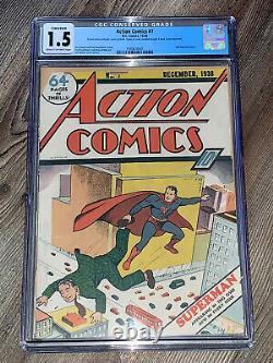 Action Comics 7 Cgc 1.5 Conservé Fr/gd DC 1938 2ème Superman Cover Rare
