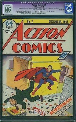 Action Comics # 7 Superman 1938 Cgc Ng 2e Apparition De La Couverture De Superman