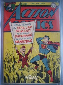 Action Comics # 80 Cgc 8.0 Wp 1945 1ère Application M. Mxyztplk Cover