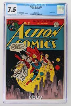 Action Comics #81 DC 1945 Cgc 7.5 -superman- Couverture Du Nouvel An