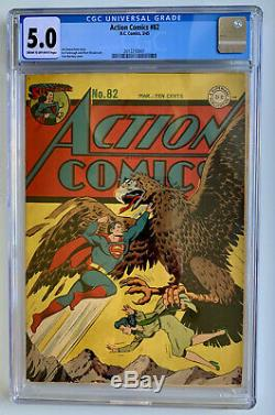Action Comics # 82 Cgc 5.0 (1945) Pochette Classique Golden Age Superman