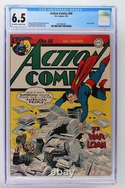 Action Comics #86 DC 1945 Cgc 6.5 -superman- Dernière Couverture De Guerre