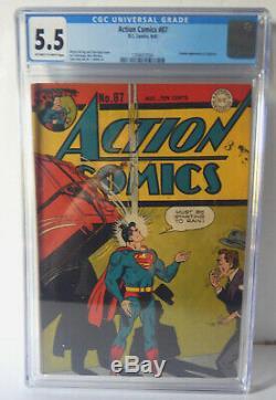 Action Comics # 87 Cgc 5.5 Fn- Rare! 1945 Graded Golden Age Comic