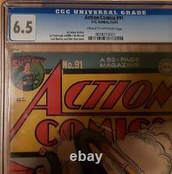 Action Comics #91 Cgc 6.5 Classic Superman Cover Dec 1945 Golden Age Rare Bonus