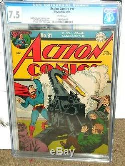 Action Comics # 91 Cgc 7.5 Guerre Mondiale Couverture Seulement 3 Fonctionnaires De Rang Supérieur Superman
