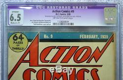 Action Comics # 9 Cgc 6.5 9ème App Superman 1939 Rare Blanc Cassé / Blanc Pgs