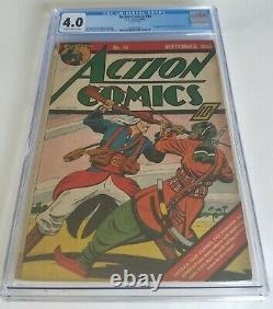 Action Comics Issue 16 Sept 1939 Vg Cgc 4.0 Âge D'or Early Superman