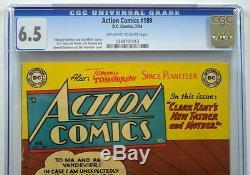 Action Comics N ° 189 Cgc 6.5 Superman 1954 Grand Papier Et Couverture