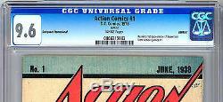Action Comics N ° 1 Cgc 9,6 Wp Rare De Sauvegarde De Haute Qualité Rare 1938-1976