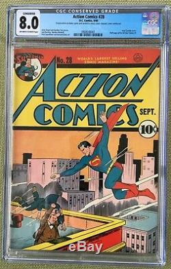 Action Comics N ° 28 (1940) Cgc 8.0 - Conserve De Jerry Seigel De Blanc À Blanc