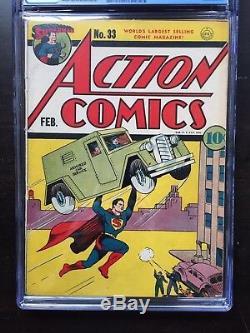 Action Comics N ° 33 Cgc Vg / Fn 5.0 Ow-w Origine De M. Amérique