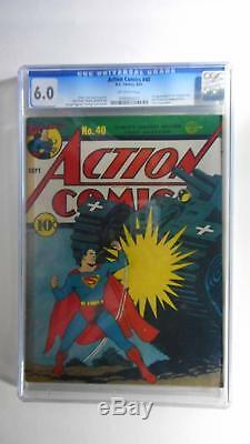 Action Comics N ° 40 Cgc F 6.0 (série DC 1938) Début Du Monde, Couvercle De Réservoir Nazi