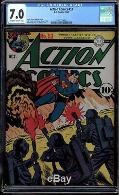 Action Comics N ° 53 Cgc 7.0 Oww Superman War Cover Cgc # 1452229003