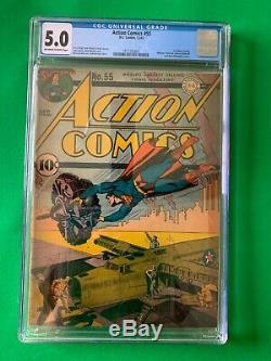 Action Comics Numéro 55 Décembre 1942 Cgc 5.0 DC Golden Age Seconde Guerre Mondiale C