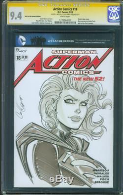 Action Comics Superman 18 Cgc Ss 9.4 Hamscher Supergirl __gvirt_np_nn_nnps<__ Esquisse D'art Originale